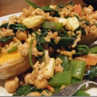 Veggie, Rice & Bean Stuffed Butternut Squash