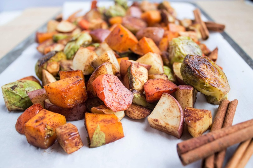 maple cinnamon roasted vegetables - side dishes for chicken