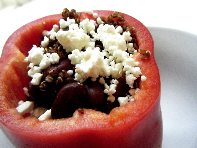 Quick and Easy Quinoa & Bean Stuffed Red Peppers - fANNEtastic food ...