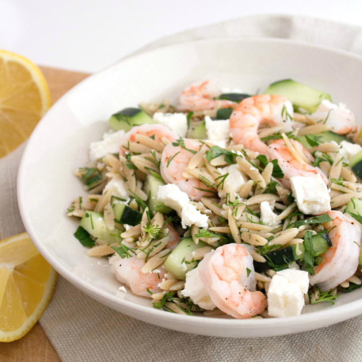 Shrimp, Cucumber & Feta Orzo Salad