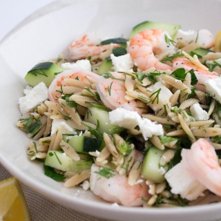 shrimp orzo salad with feta and cucumber