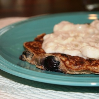 Blueberry Spelt Pancakes with Yogurt Maple Banana Topping