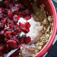 spiced cranberry compote oatmeal with cottage cheese