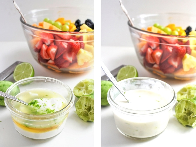 Fruit Salad with Yogurt Honey-Lime Dressing is the perfect healthy addition to any brunch, picnic, or potluck. It's fresh, easy, flavorful, and so gorgeous! Recipe via @fannetasticfood
