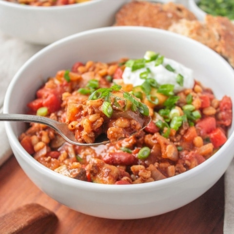 Turkey, Veggie, & Barley Chili