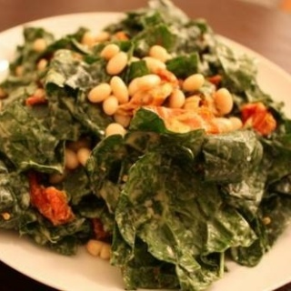 Kale and White Bean Salad with Raw Caesar Dressing