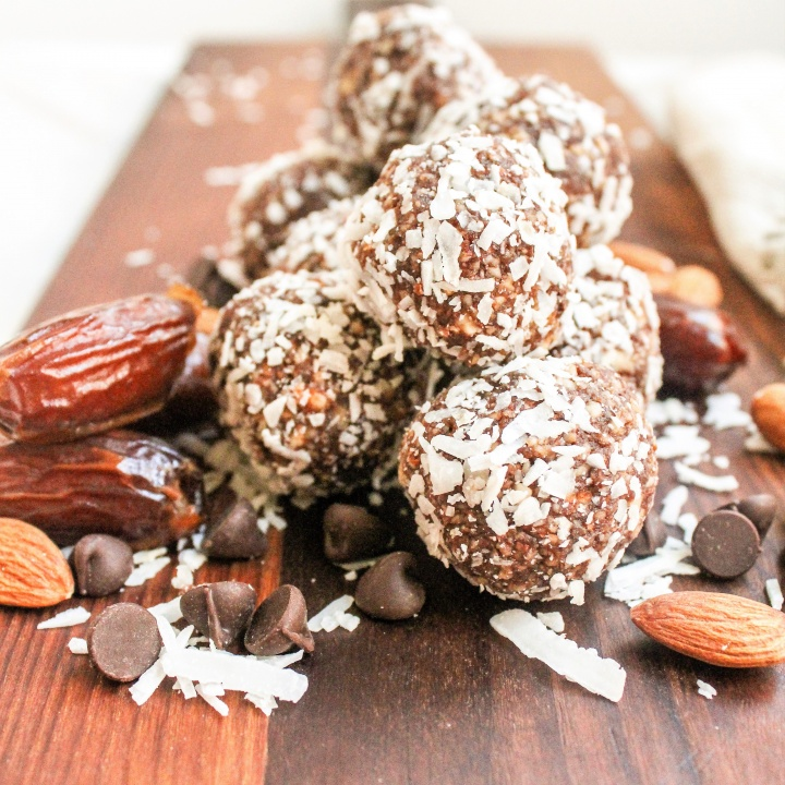Chocolate Coconut Date Balls with Almonds