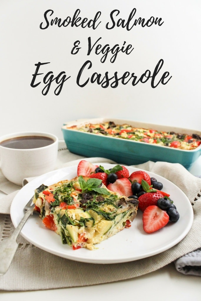 Smoked Salmon & Veggie Egg Casserole - a great easy brunch recipe or healthy make ahead breakfast via @fannetasticfood