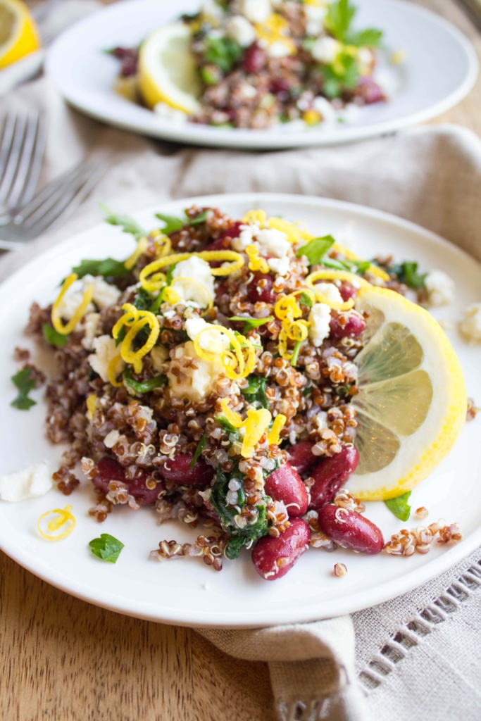 lemon bean spinach quinoa salad recipe
