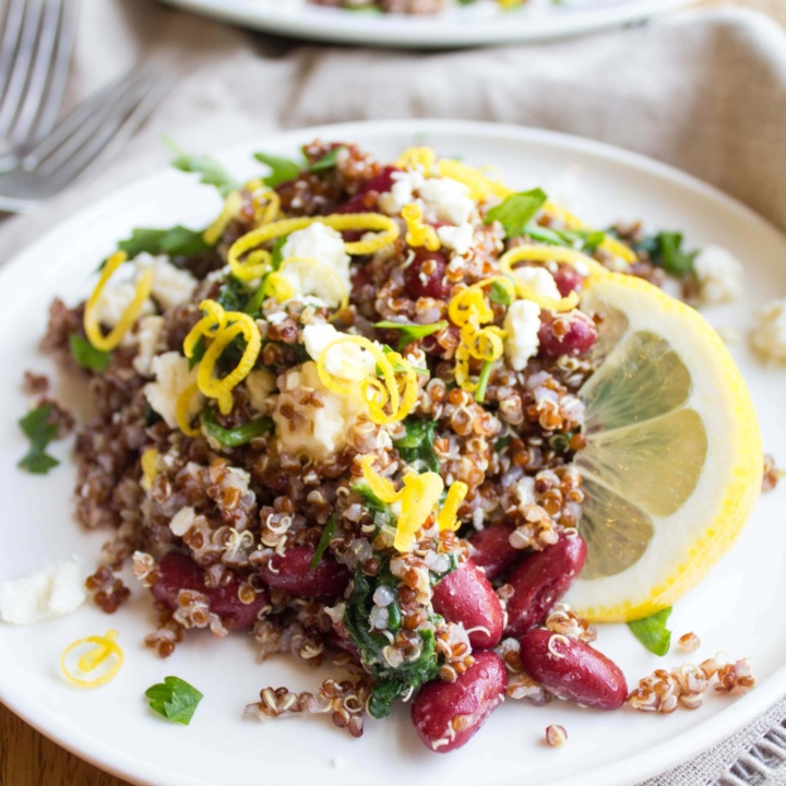 Lemony Spinach Quinoa Bean Salad