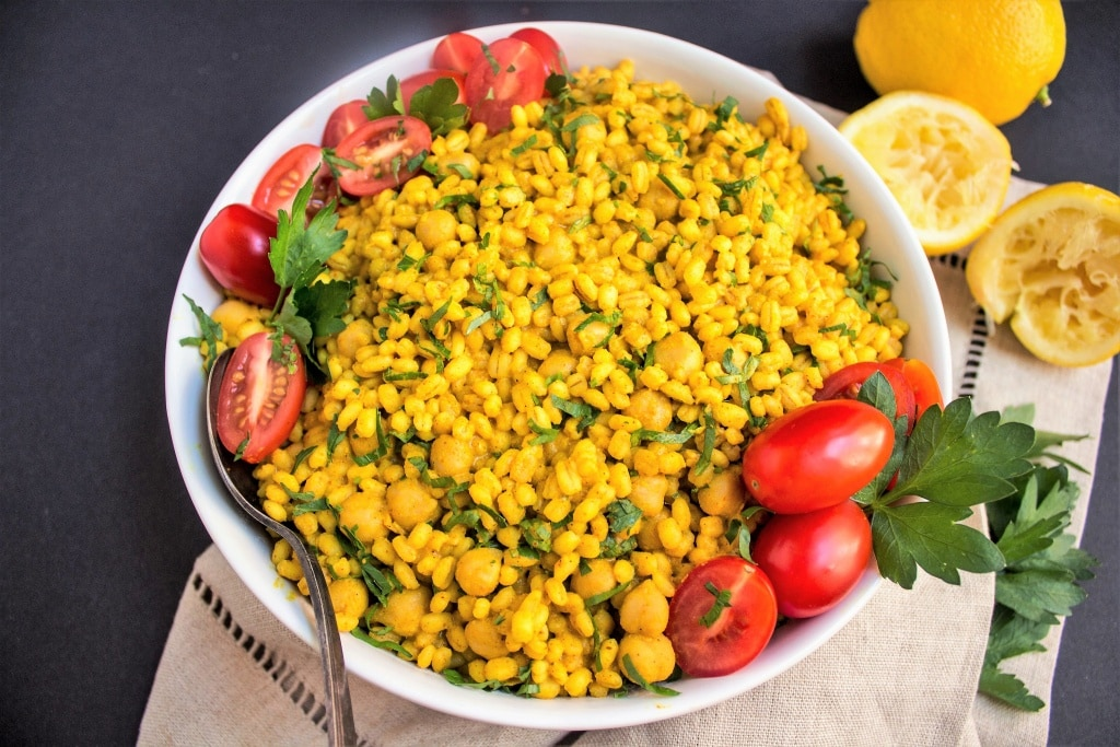 curried barley chickpea salad