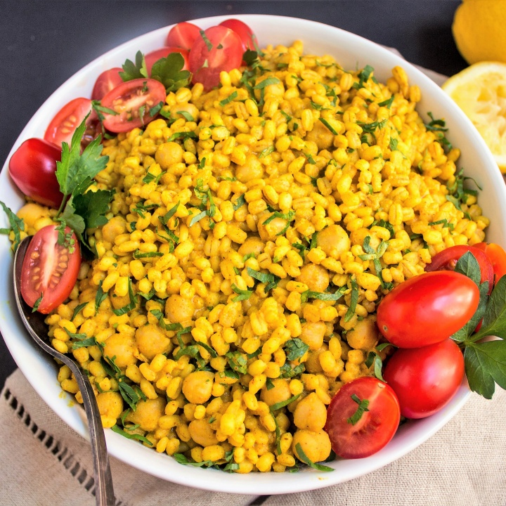 Vegan Curried Barley Chickpea Salad