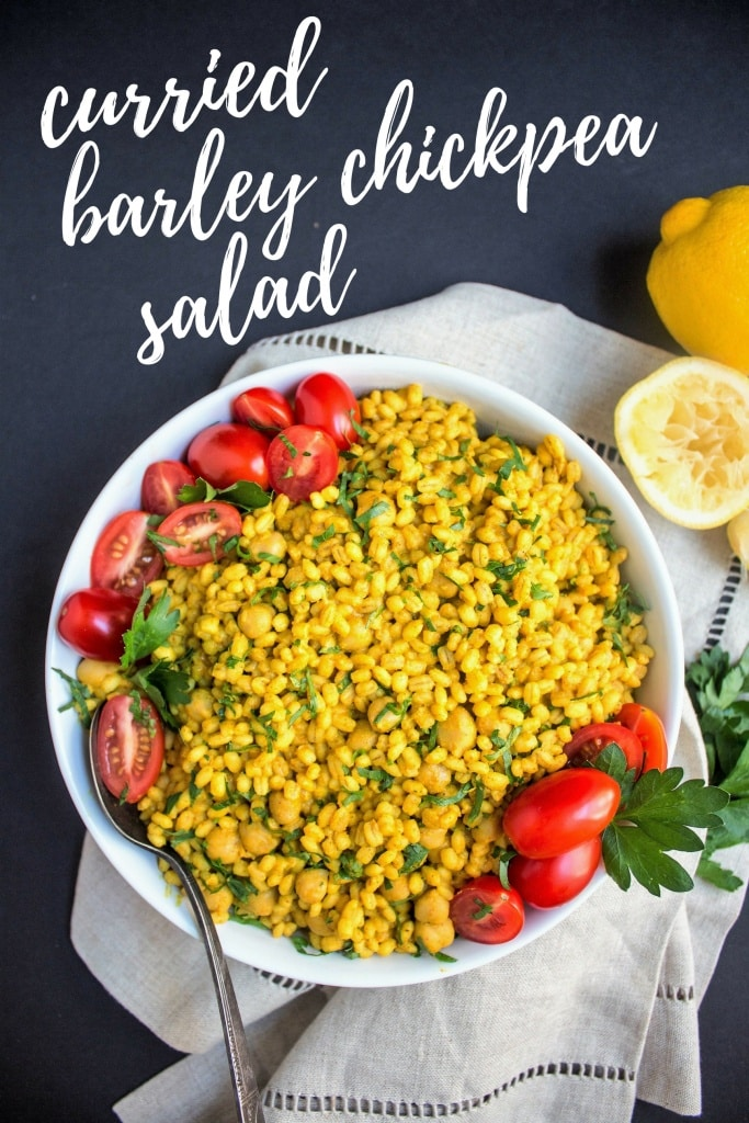 vegan curried barley chickpea salad
