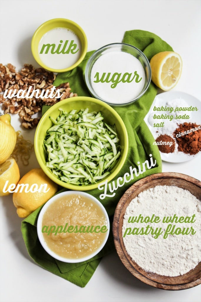 vegan whole wheat lemon zucchini muffins ingredients