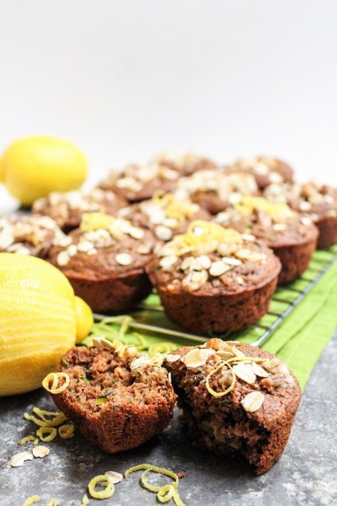 vegan whole wheat lemon zucchini muffins