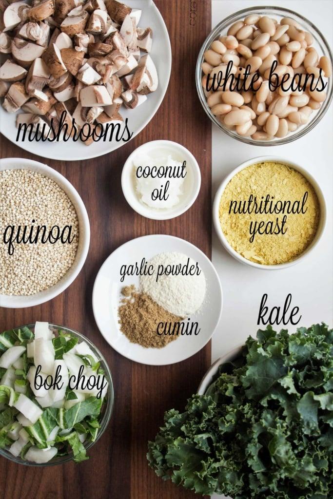 Vegan Mushroom Quinoa ingredients