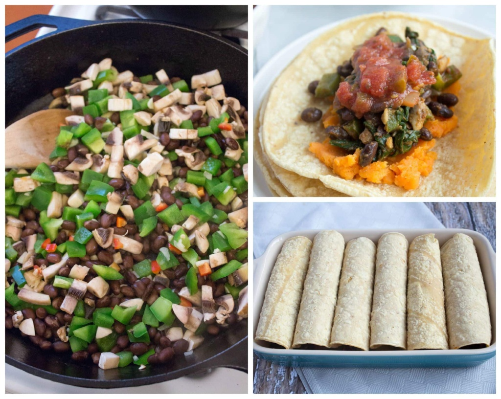 how to make sweet potato black bean veggie enchiladas