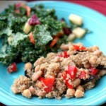 Roasted Eggplant & Red Pepper Quinoa + Apple Kale Salad