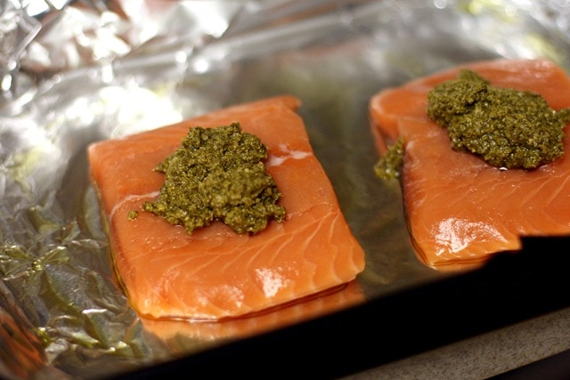 Foil-Baked Salmon With Basil Pesto And Tomatoes Recipes ...