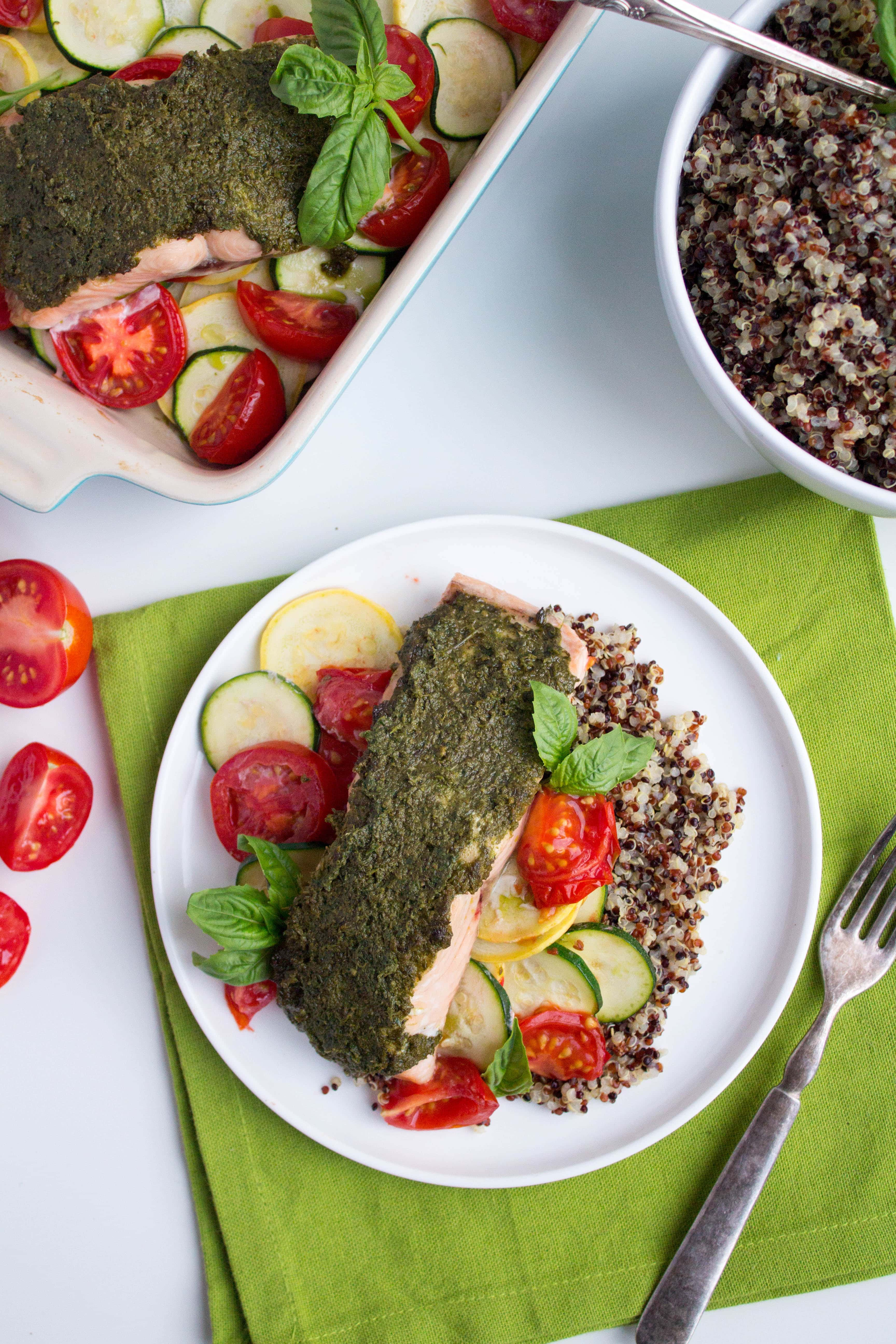 Pesto Baked Salmon with Veggies | Fast, Easy Dinner Recipe