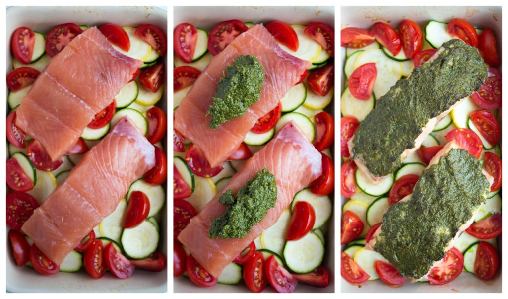 pesto baked salmon how to make