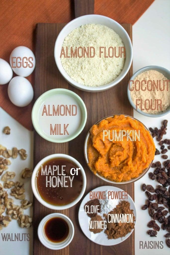 paleo pumpkin muffins ingredients