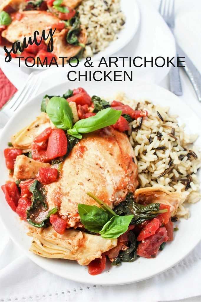 Quick Chicken Recipe with Artichokes and Tomatoes on a plate with a side of rice