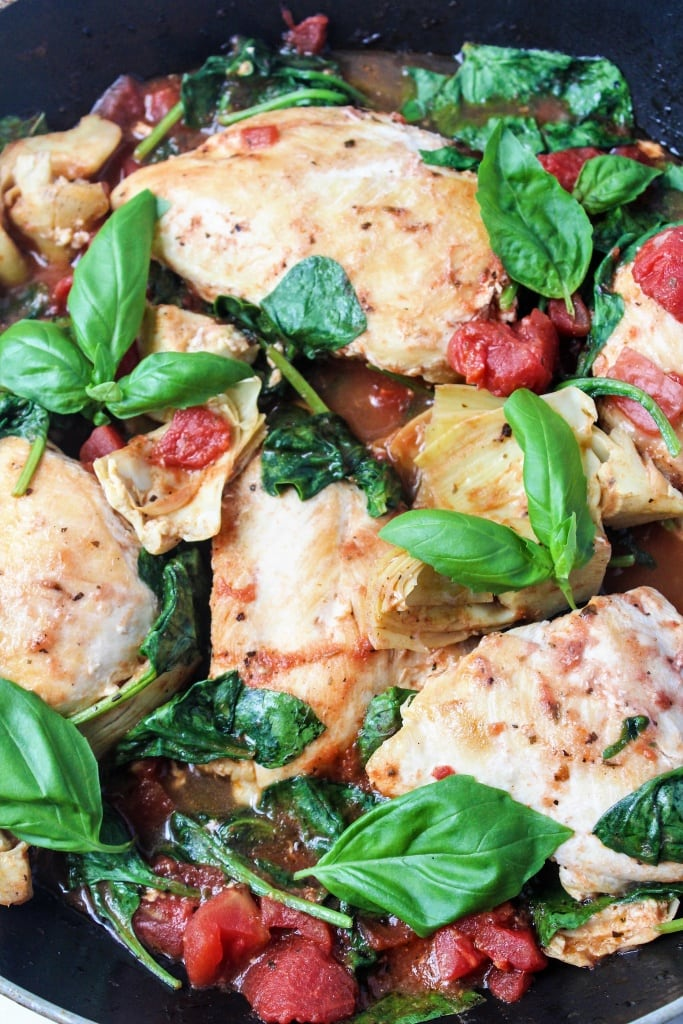 Quick Chicken Recipe with Artichokes and Tomatoes