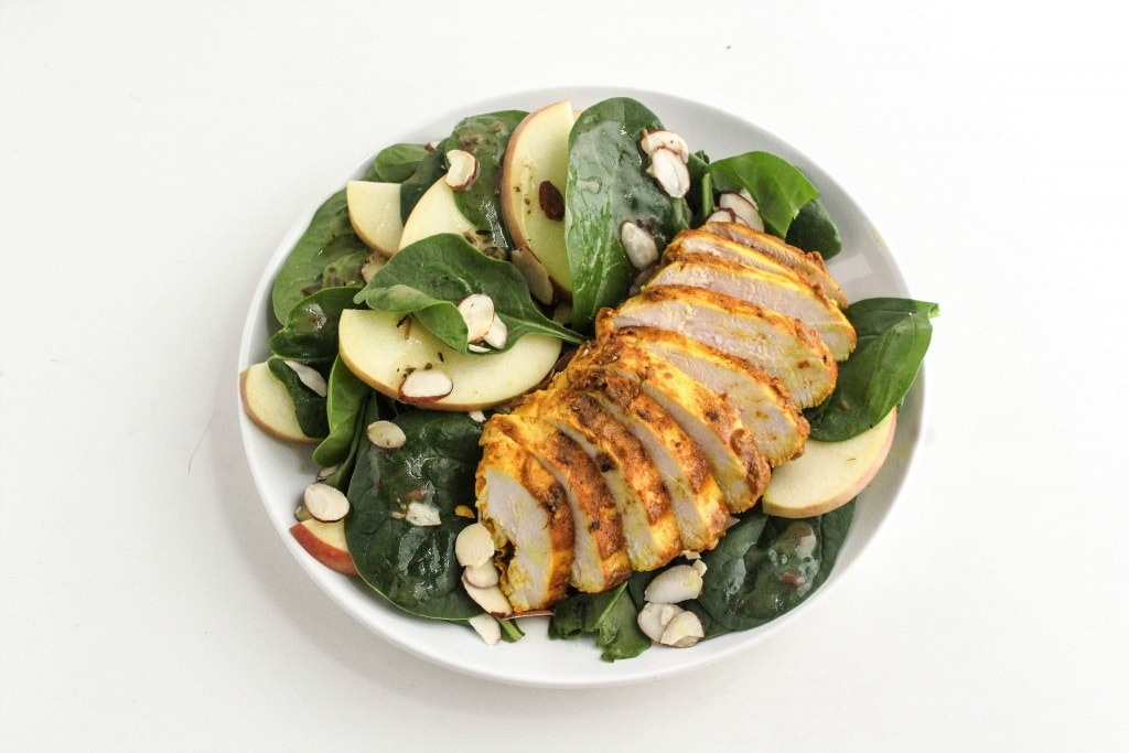 This Persian Lemon Chicken and Spinach Salad is perfect for an easy lunch or dinner! Persian Lemon Chicken and Spinach Salad