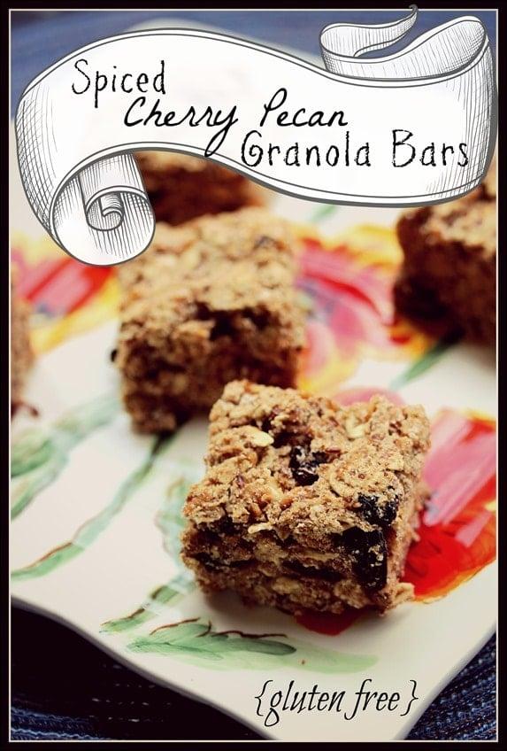Gluten-Free, Dairy-Free Spiced Cherry Pecan Granola Bars