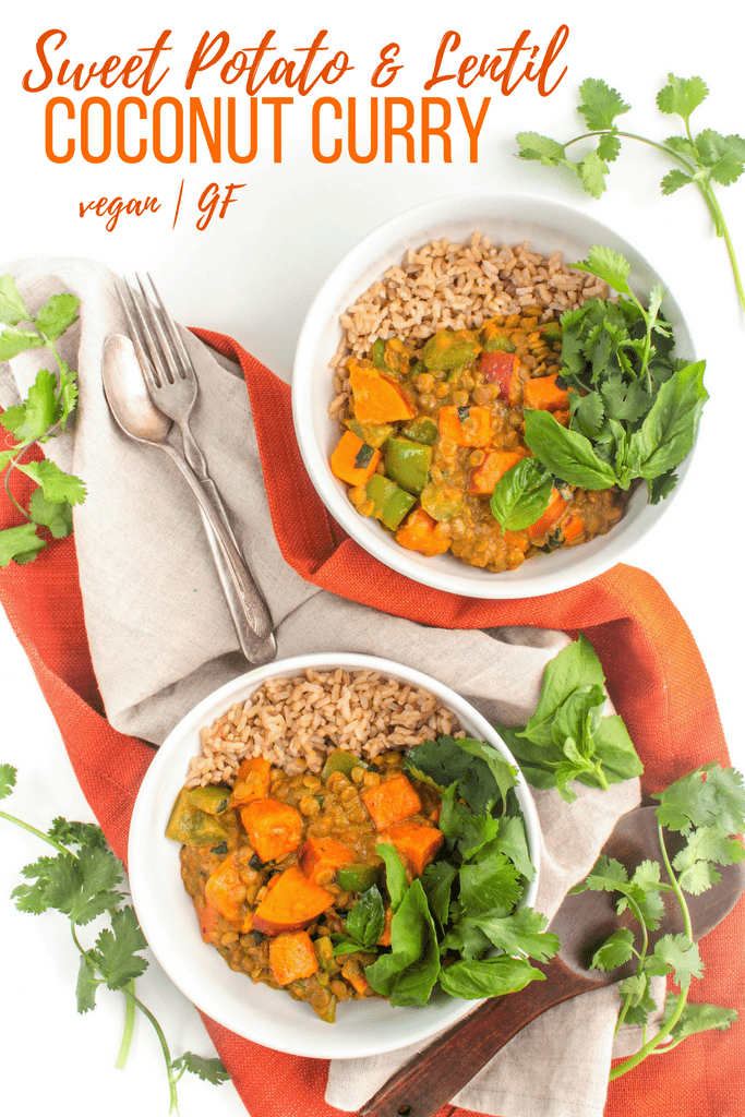 Sweet Potato & Lentil Coconut Curry - the perfect healthy dinner, ready in under 30 minutes! #vegan #glutenfree