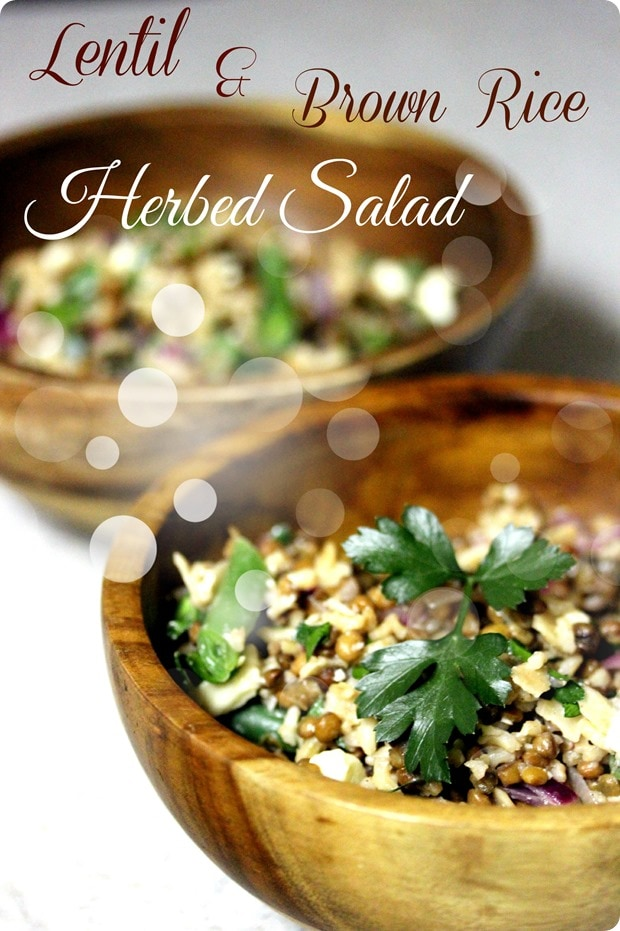 lentil brown rice herbed salad