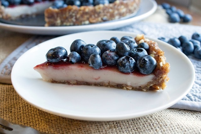 No Bake Blueberry Custard Pie (vegan + gluten free)