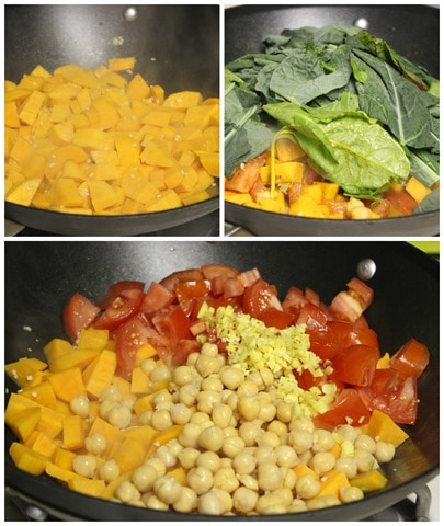 curried sweet potatoes with chard and chickpeas