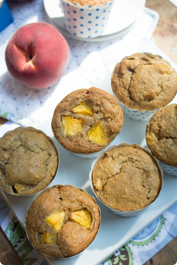 gluten free and dairy free peach muffins