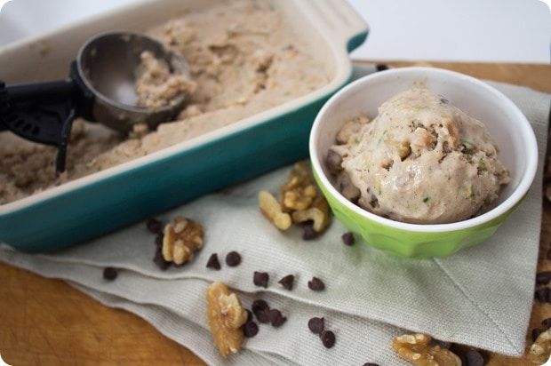 zucchini bread ice cream with an ice cream scoop