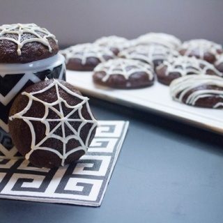 Halloween Spiderweb Maple Brownie Cookies