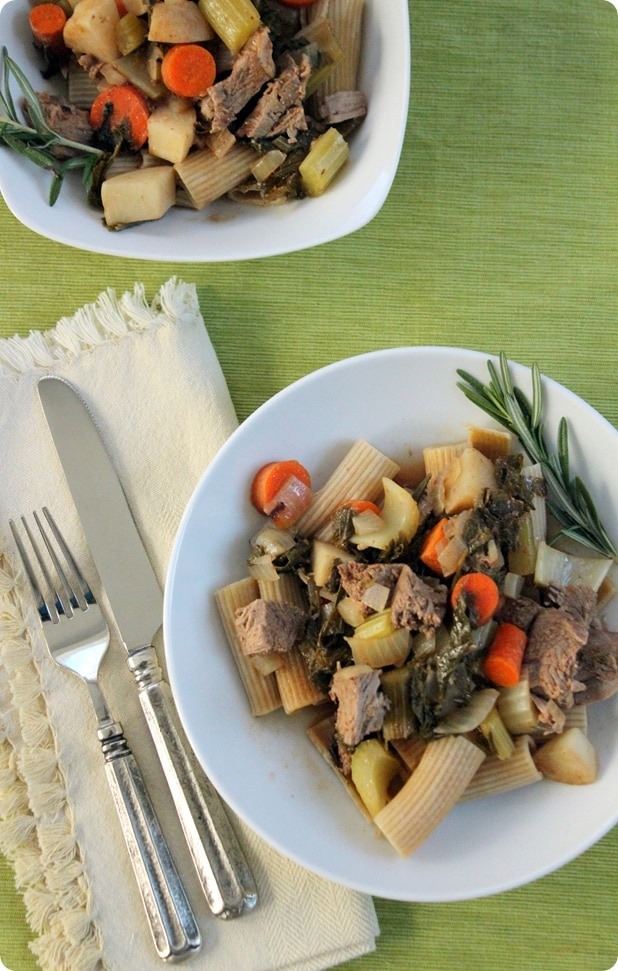 Rigatoni with Slow Cooker Stewed Lamb and Vegetables