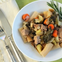 Rigatoni with Stewed American Lamb and Vegetables