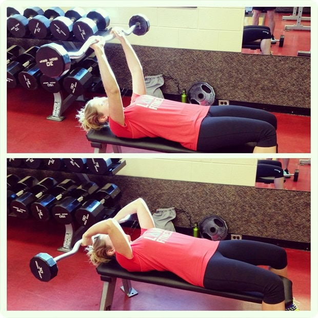tricep press with barbell