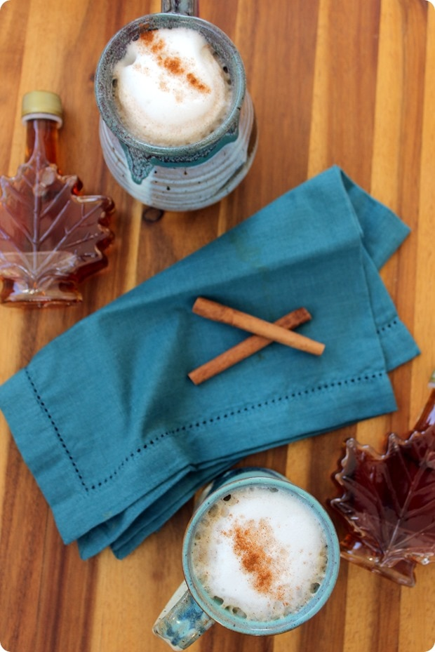 maple latte with cinnamon in blue mugs