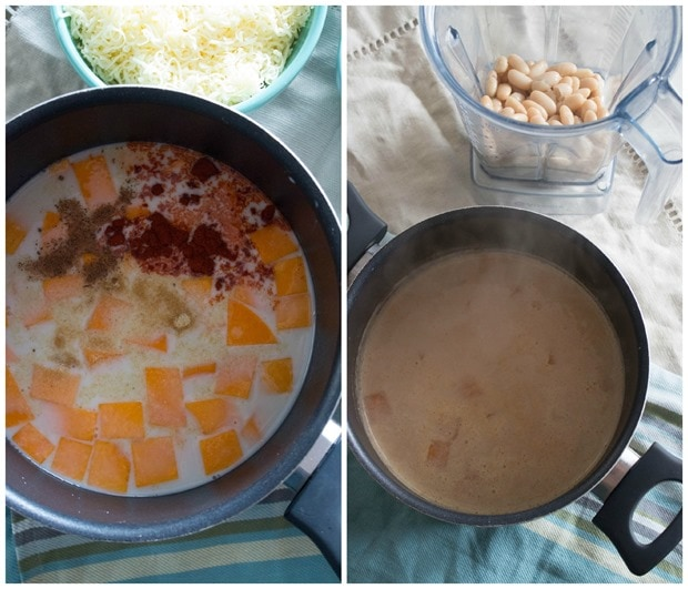 almond milk mac and cheese in a pot cooking steps