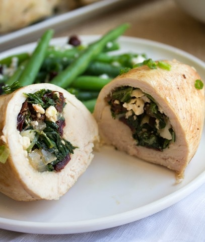 Tart Cherry Kale And Feta Stuffed Chicken