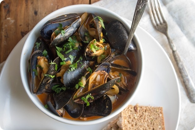 mussel fennel soup with bread recipe