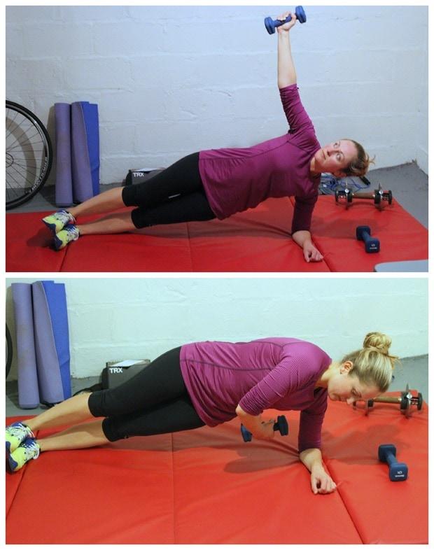 side plank arm raises