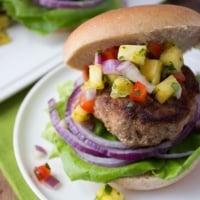 Jamaican Jerk Turkey Burgers with Pineapple Salsa
