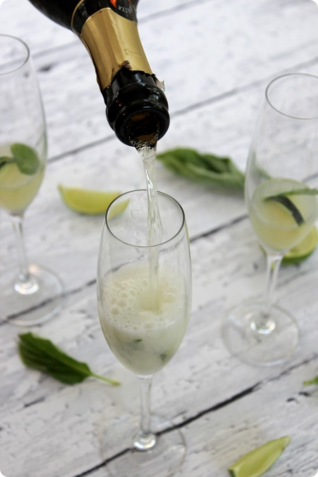 cucumber lime basil prosecco cocktail