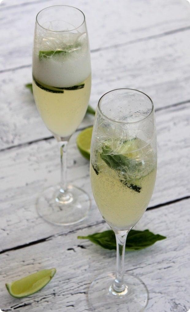 cucumber lime basil prosecco spritzer