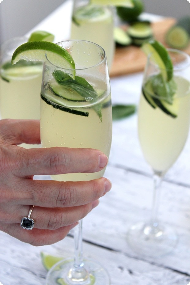 cucumber lime basil prosecco drink