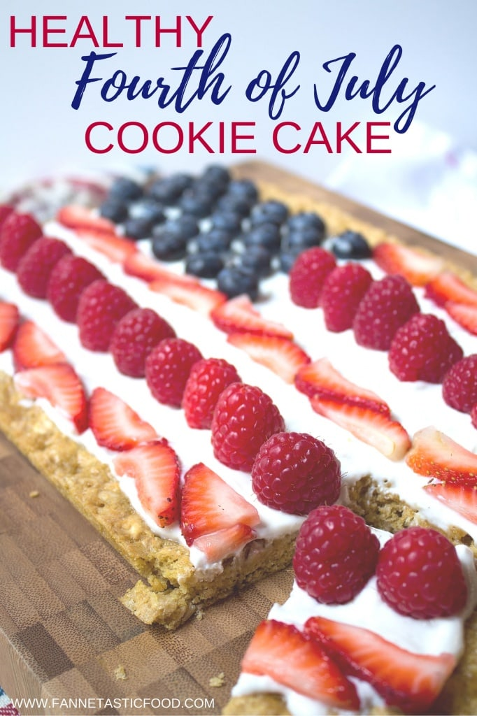 Make this Healthy 4th of July Cookie Cake for your patriotic celebration - and check out more healthy 4th of July recipes on @fannetasticfood!